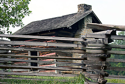 July 2007:Brotherton House, a Log cabin surrounded by a split rail fence at Chickamauga National Park in Georgia.  Attractions near Chattanooga Tennessee. Point Park, National Park Service - Lookout Mountain, TN.