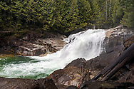 Spring runoff at Gold Creek's Lower Falls at Golden Ears Provincial Park in Maple Ridge, British Columbia, Canada.