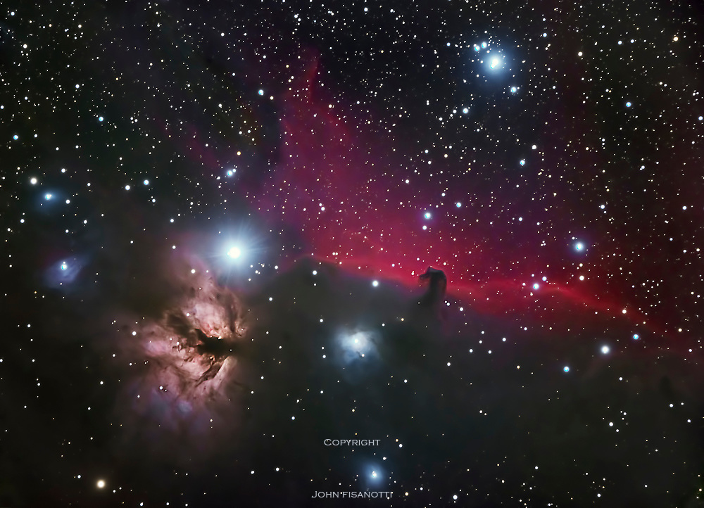 This region around the Horsehead Nebula (B33) includes several objects from the NGC and the IC catalogues
