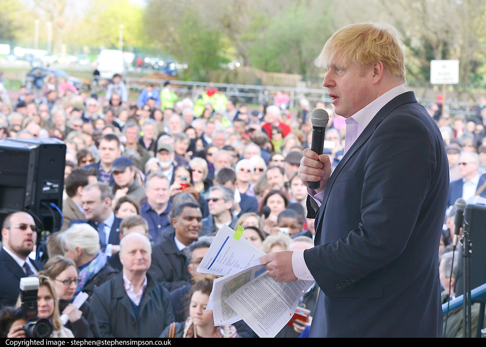 © Licensed to London News Pictures. 27/04/2013. London, UK. Boris Johnson addresses the rally. A rally against Heathrow expansion takes place today 27th April on Barn Elms Playing Field in Barns, West London.  The rally organised by MP Zac Goldsmith included Mayor of London, Boris Johnson, Cabinet Minister Justine Greening, and many other MPs, MEPs, Council Leaders, and campaigners as speakers. Photo credit : Stephen Simpson/LNP