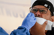 A person undergoes a rapid test to detect the SARS-Cov-2 who causes the disease of Covid-19 . Since the beginning of the pandemic, the total number of infected has risen to 821,045. On October 13, 2020 in Mexico City, Mexico (Photo by Leonardo Casas/ Eyepix Group/Speed Media)