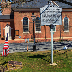 Chestertown, MD, USA - March 30, 2013: A historic marker in Chestertown is a town in Kent County, Maryland. It is the county seat.