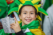 A young Brazil fan during the Friendly International match between Brazil and Uruguay at the Emirates Stadium, London, England on 16 November 2018.