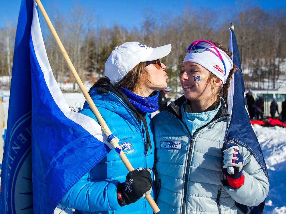 Nicolette Amber of Middlebury College and Olivia Amber of Colby College after the Colby College Winter Carnival Team Sprint Relay at Quarry Road on January 24, 2016 in Waterville, ME. (Dustin Satloff)
