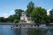 """Henley on Thames, United Kingdom, 22nd June 2018, Friday,   """"Henley Women's Regatta"""",  view, The Temple, [Folly] on Temple Isand, Blurred Rowing Eight, Slow Shutter, Henley Reach, Thames Valley,  River Thames, England, © Peter SPURRIER"""