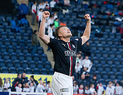 Falkirk's Peter Grant celebrates after scoring their goal. Falkirk 1 v 1 Ayr United, Scottish Championship game played 14/1/2017at The Falkirk Stadium .