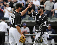 CHICAGO - APRIL 5:  Matt Thornton #37 celebrates with A.J. Pierzynski #12 of the Chicago White Sox after the game against the Cleveland Indians on April 5, 2010 at U.S. Cellular Field in Chicago, Illinois.  The White Sox defeated the Indians 6-0.  (Photo by Ron Vesely)