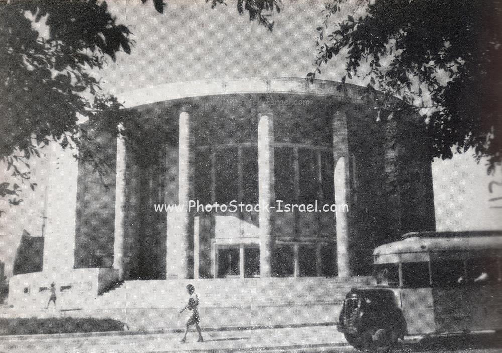 Historic photograph of Habimah National theatre, Tel Aviv, Israel circa 1945