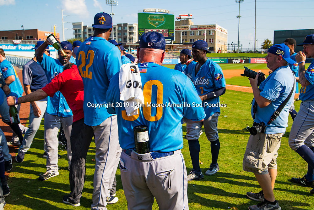 Amarillo Sod Poodles Manager Phillip Wellman celebrates after the Sod Poodles won against the Tulsa Drillers during the Texas League Championship on Sunday, Sept. 15, 2019, at OneOK Field in Tulsa, Oklahoma. [Photo by John Moore/Amarillo Sod Poodles]