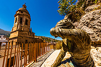 Statue and Church of the Incarnation, Loja, Granada Province, Andalusia, Spain.