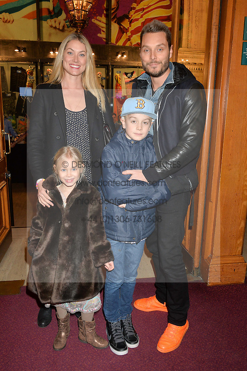 SEB & HEIDI BISHOP with their children MAX and SKYE at the Cirque Du Soleil's VIP performance of Kooza at The Royal Albert Hall, London on 6th January 2015.