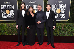 Dylan Brosnan, Keely Shaye Smith, Pierce Brosnan, and Paris Brosnan attending the 77th Golden Globe Awards Arrivals at The Beverly Hilton, Los Angeles, CA, USA on January 5, 2020. Photo by Lionel Hahn/ABACAPRESS.COM