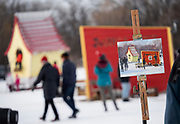 """Jim Henley's artwork was close to being finished near the end of the first day of the Art Shanty Projects on frozen White Bear Lake. Henley belongs to the group Outdoor Painters of Minnesota which was deployed to Shanty Village to paint """"en plein air"""" and visit with guests about the challenges of outdoor winter painting."""