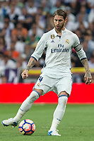 Sergio Ramos of Real Madrid during the match of La Liga between Real Madrid and Futbol Club Barcelona at Santiago Bernabeu Stadium  in Madrid, Spain. April 23, 2017. (ALTERPHOTOS)
