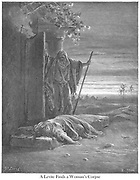 The Levite Finding the Corpse of his Woman Judges 19:25-27 From the book 'Bible Gallery' Illustrated by Gustave Dore with Memoir of Dore and Descriptive Letter-press by Talbot W. Chambers D.D. Published by Cassell & Company Limited in London and simultaneously by Mame in Tours, France in 1866