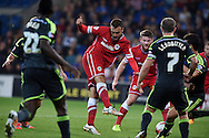 Juan Cala of Cardiff city © has a shot at goal blocked.Skybet football league championship match, Cardiff city v Middlesbrough at the Cardiff city stadium in Cardiff, South Wales on Tuesday 16th Sept 2014<br /> pic by Andrew Orchard, Andrew Orchard sports photography.