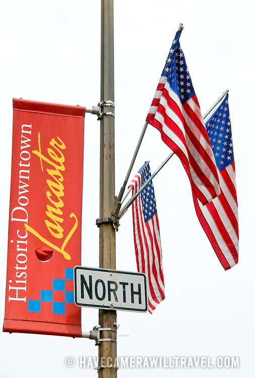 American flags and city flag in Historic Downtown Lancaster, Pennsylvania