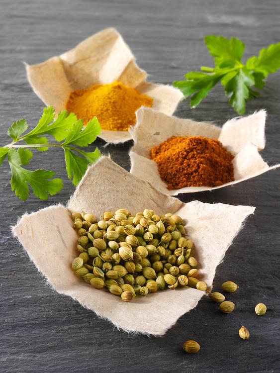 Coriander seed, ground chilli powder & ground turmeric spices