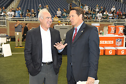 DETROIT - SEPTEMBER 19: Owner Jeffrey Lurie of the Philadelphia Eagles talks with a sideline reporter during the game against the Detroit Lions on September 19, 2010 at Ford Field in Detroit, Michigan. (Photo by Drew Hallowell/Getty Images)  *** Local Caption *** Jeffrey Lurie