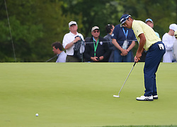 May 19, 2019 - Farmingdale, NY, U.S. - FARMINGDALE, NY - MAY 19: Hideki Matsuyama of Japan attempts a putt for birdie on 14 during the Final Round of the 2019 PGA Championship, on the Black Course, Bethpage State Park, in Farmingdale, NY. (Photo by Joshua Sarner/Icon Sportswire) (Credit Image: © Joshua Sarner/Icon SMI via ZUMA Press)