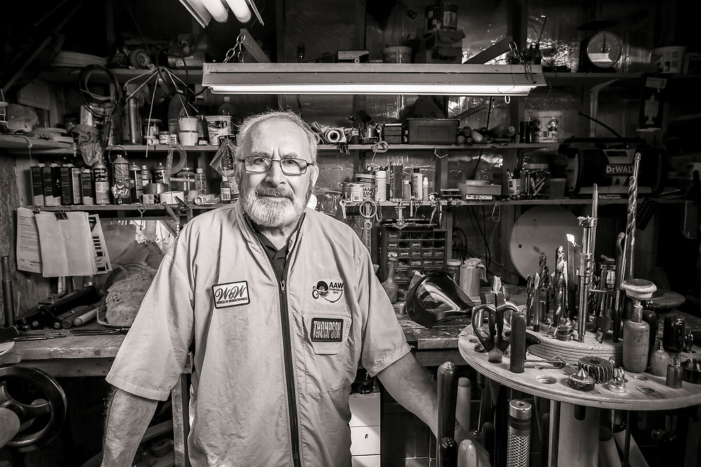 Wood-turner Michael Gibson was photographed in his home workshop in Hoschton, Georgia.