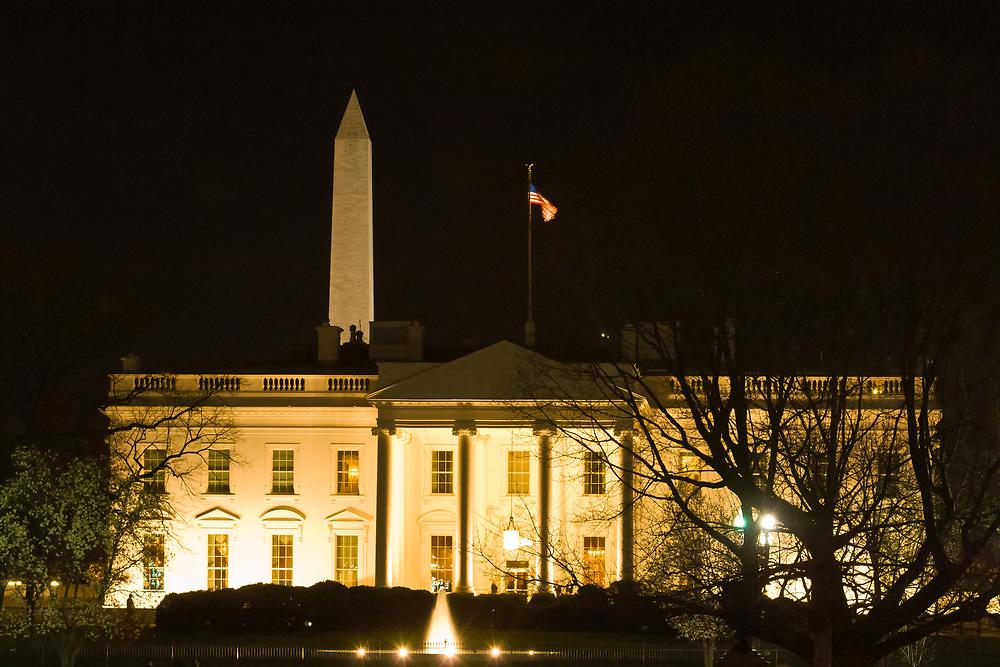 The White House (with Washington Monument behind) at night, Washington D.C., U.S.A.