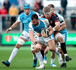 Scott Baldwin of Ospreys under pressure from Aaron Wainwright of Dragons<br /> <br /> Photographer Simon King/Replay Images<br /> <br /> Guinness PRO14 Round 12 - Dragons v Ospreys - Sunday 30th December 2018 - Rodney Parade - Newport<br /> <br /> World Copyright © Replay Images . All rights reserved. info@replayimages.co.uk - http://replayimages.co.uk