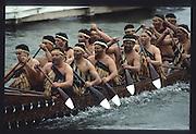 Henley on Thames. United Kingdom. Moari War Canoe on a paddle down the course. 1990 Henley Royal Regatta, Henley Reach, River Thames. 06/07.1990<br /> <br /> [Mandatory Credit; Peter SPURRIER/Intersport Images] 1990 Henley Royal Regatta. Henley. UK