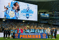 April 13, 2018 - Sydney, NSW, U.S. - SYDNEY, NSW - APRIL 13: Sydney FC lift the Premiers plate for finishing first in the home and away fixtures of the A-League Soccer Match between Sydney FC and Melbourne Victory on April 13, 2018 at Allianz Stadium in Sydney, Australia. (Photo by Speed Media/Icon Sportswire) (Credit Image: © Speed Media/Icon SMI via ZUMA Press)