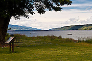 Looking down the Hood Canal from Potlatch State Park near the right angle bend in the Hood Canal Fjord.  The Olympic Peninsula is on the right and the Kitsap Peninsula on the right.  looking north