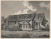 'Bunyan's Meetin House, Southwark, London, built 1687.  John Bunyan (1628-1688) English Nonconformist Christian writer and preacher. Engraving afteer ''Londina Illustrata'', 1819.'