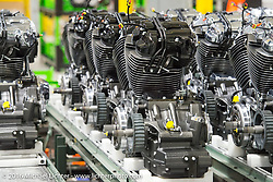 Assembling the new Harley-Davidson Milwaukee-8 engine at the Pilgrim Road plant as seen on a visit during the Milwaukee Rally. Milwaukee, WI, USA. Friday, September 2, 2016. Photography ©2016 Michael Lichter.