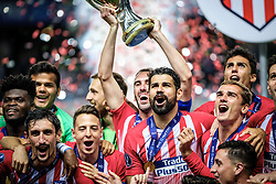 August 16, 2018 - Tallinn, Estonia - Diego Costa of Atletico Madrid celebrating at UEFA Super Cup 2018 in Tallinn..The UEFA Super Cup 2018 was played between Real Madrid and Atletico Madrid. Atletico Madrid won the match 4-2 during extra time after and took the trophy after drawing at 2-2 during the first 90 minute of game play. (Credit Image: © Hendrik Osula/SOPA Images via ZUMA Wire)