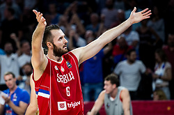 Milan Macvan of Serbia celebrates during basketball match between National Teams of Russia and Serbia at Day 16 in Semifinal of the FIBA EuroBasket 2017 at Sinan Erdem Dome in Istanbul, Turkey on September 15, 2017. Photo by Vid Ponikvar / Sportida