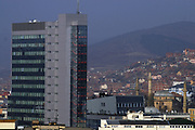 Kosovo, Pristina (Mother Teresa square and Kosovo Government Building)<br /> February 15 2008<br /> <br /> This is also another view from Grand HOTEL Pristina high floor, the blue building, biggest one is Kosovo Government building.<br /> <br /> photo by: VEDAT xhymshiti