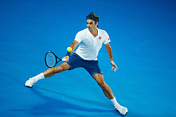 January 19, 2019 - Melbourne, VIC, U.S. - MELBOURNE, VIC - JANUARY 18: ROGER FEDERER (SUI) during day five match of the 2019 Australian Open on January 18, 2019 at Melbourne Park Tennis Centre Melbourne, Australia (Photo by Chaz Niell/Icon Sportswire) (Credit Image: © Chaz Niell/Icon SMI via ZUMA Press)
