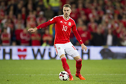 October 9, 2017 - Cardiff City, Walles, United Kingdom - Aaron Ramsey of Wales controls the ball during the FIFA World Cup 2018 Qualifying Round Group D match between Wales and Republic of Ireland at Cardiff City Stadium in Cardiff, Wales, United Kingdom on October 9, 2017  (Credit Image: © Andrew Surma/NurPhoto via ZUMA Press)