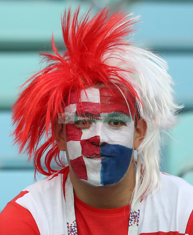 SOCHI, July 7, 2018  A fan of Croatia is seen prior to the 2018 FIFA World Cup quarter-final match between Russia and Croatia in Sochi, Russia, July 7, 2018. (Credit Image: © Xu Zijian/Xinhua via ZUMA Wire)
