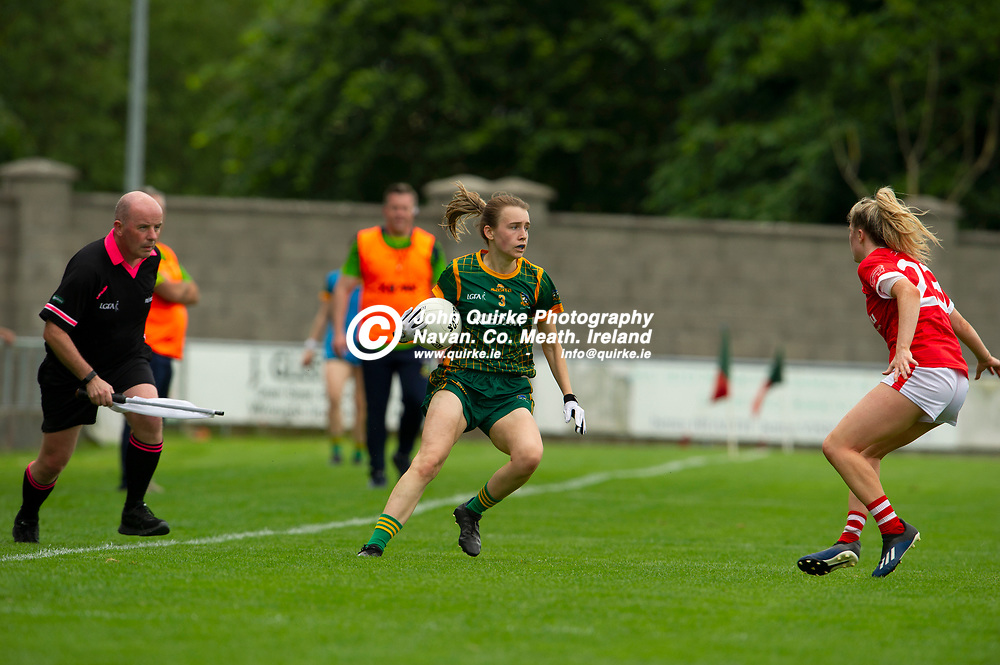 10-07-21. Meath v Cork - LGFA All-Ireland Senior Championship - Group 3 Round 1 at St. Brendan's Park, Birr.<br /> Mary Kate Lynch, Meath in action against Cork.<br /> Photo: John Quirke / www.quirke.ie<br /> ©John Quirke Photography, 16 Proudstown Road, Navan. Co. Meath. (info@quirke.ie / 046-9028461 / 087-2579454).