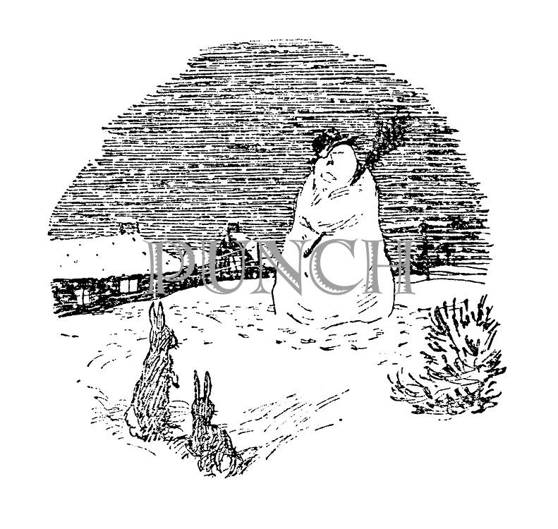 (Winter scene: snowman and rabbits).