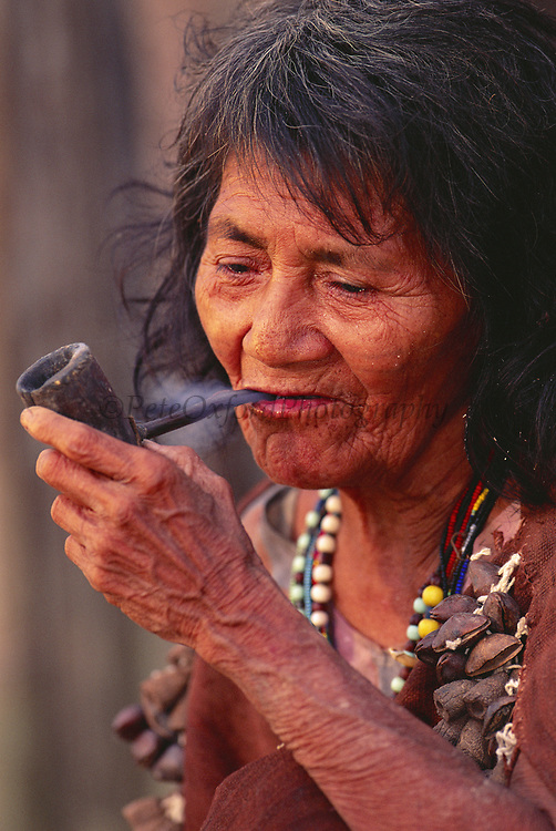 Machiguenga Indian Smoking Pipe<br />Timpia Community, Lower Urubamba River<br />Amazon Rain Forest, PERU.  South America<br />(Pipe made from Spider Monkey Femur)