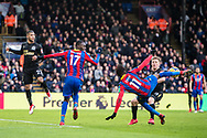 Crystal Palace #11 Wilfried Zaha, Crystal Palace #17 Christian Benteke, Newcastle United (22) DeAndre Yedlin during the Premier League match between Crystal Palace and Newcastle United at Selhurst Park, London, England on 4 February 2018. Picture by Sebastian Frej.
