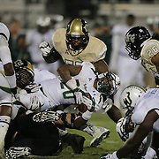 South Florida Bulls running back Marcus Shaw (20) gets stopped during an NCAA football game between the South Florida Bulls and the 17th ranked University of Central Florida Knights at Bright House Networks Stadium on Friday, November 29, 2013 in Orlando, Florida. (AP Photo/Alex Menendez)