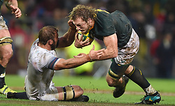 Cape Town-180623- Springbok player RG Snyman  tackled by Bred Shields of England  in the last game of the Castle Lager Test between Springboks and England at Newlands Stadium photographer:Phando Jikelo/African News Agency/ANA