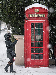 © Licensed to London News Pictures. 02/03/2018. London, UK. A woman take a picture while stood next to a red phone box, as further snowfall covers the landscape in Little Venice, Westminster, London. The 'Beast from the East' and Storm Emma have brought extreme cold, ice and heavy snow to the UK. Photo credit: Ben Cawthra/LNP