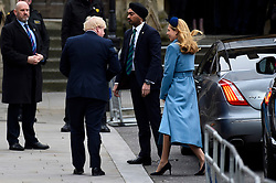 © Licensed to London News Pictures. 09/03/2020. LONDON, UK. Boris Johnson, Prime Minister, and Carrie Symonds arrive at Westminster Abbey to attend the annual church service on Commonwealth Day.  Photo credit: Stephen Chung/LNP