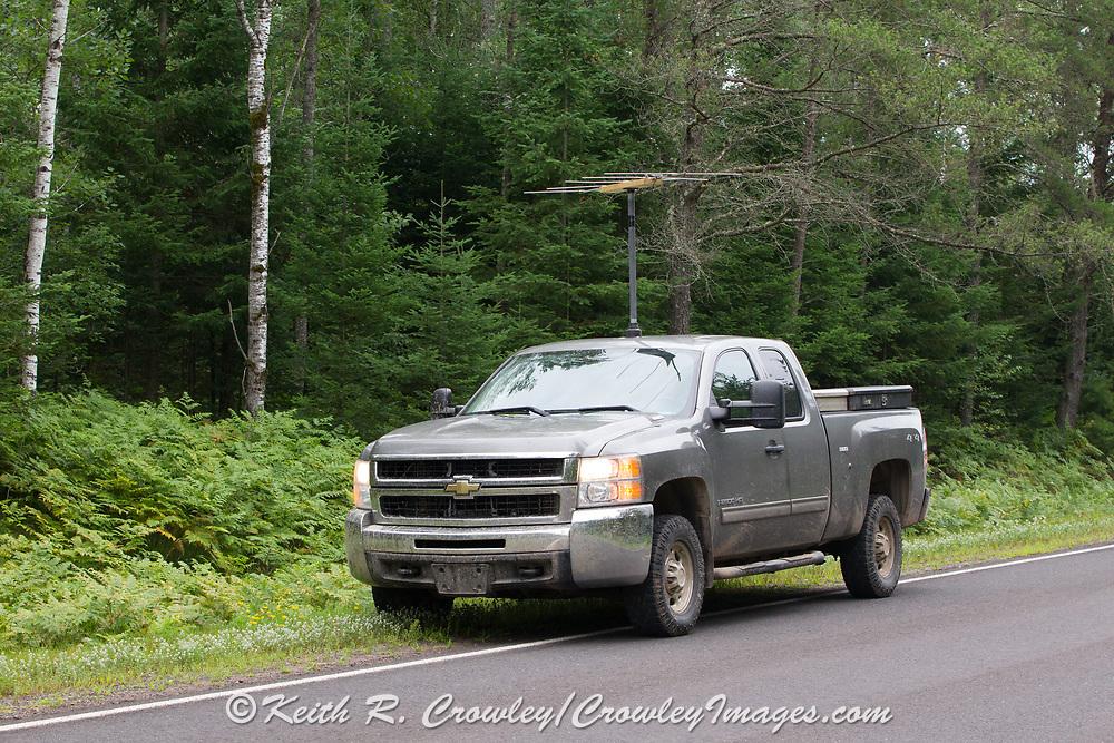 Wildlife biologists use radio telemetry equipment to locate elk near Clam Lake, Wisconsin