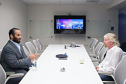 Saudi Crown Prince Mohammad bin Salman Al-Saud (left) meets with Sir Richard Branson, Founder of Virgin Group, during a visit to Virgin Galactic in Mojave, California, United States of America, on April 1st, 2018. The tour is part of Saudi Crown Prince to the United States of America. Photo by Balkis Press/ABACAPRESS.COM