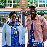 Artist Yinka Ilori and Councillor Sabrina Francis ,Mayor of Camden attended Let's Do London Autumn culture season with spectacular public street art installations to unveil Bring London Together – a spectacular new public art commission transforming 18 pedestrian crossings with distinctive playful designs using a bright colour pallet and bold forms. The 'Bring London Together'  at Tottenham Court Road on 2021-09-16 London, UK.