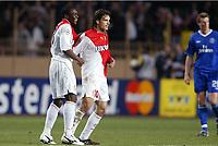 Fotball<br /> UEFA Champions League<br /> Semifinale<br /> 20.04.2004<br /> Monaco v Chelsea<br /> <br /> Foto: Digitalsport/Dppi<br /> NORWAY ONLY<br /> <br /> JOY SHABANI NONDA / FERNANDO MORIENTES (MON) AFTER THE NONDA'S GOAL